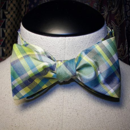 blue yellow plaid tied