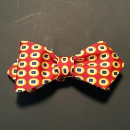 Silk Diamond-Point (Orange/Navy Dots)