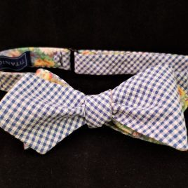 Reversible Cotton Diamond-Point (Blue Seersucker Check/Floral)