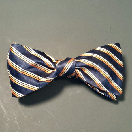 tied navy orange stripe bw